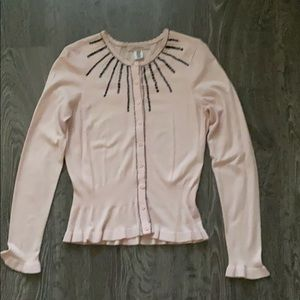 Intuitions vintage inspired beaded pink cardigan